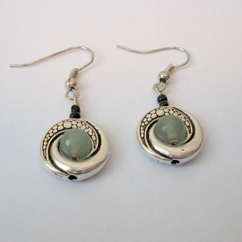 Green Jade Earrings with Tibetan Silver Ring and Black Glass