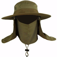 Men Women Wide Brim Bucket Hat Camping Fishing Outdoor Sport Sun UV Protection Cap