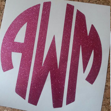 Glitter Circle Monogram | Car Monogram | Vinyl Decal | Cup Decal | Circle Decal | Southern Decal | Monogram | Window Decal | Preppy Decal