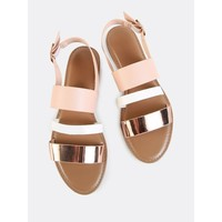 Sling Back Triple Band Sandals ROSE GOLD MULTI