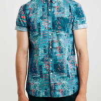 Blue Print Short Sleeve Casual Shirt