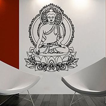 Wall Decal Buddha Vinyl Sticker Decals Lotus Flower Yoga Home Decor Art Bedroom Design Interior C38