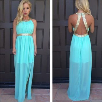 Blue Prom Dresses 2017 New Arrivals Halter Draped Sashes Draped Floor-Length None Train Sleeveless Chiffon Mermaid prom