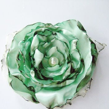 Misty Aqua blue green flower accessory Hair Clip by OurPlaceToNest