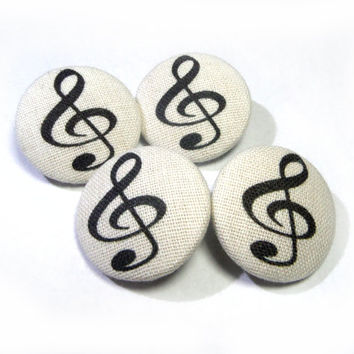 Fabric covered buttons treble clef, Handmade sewing buttons, sweater buttons, embellished buttons, gifts for musician, 1 inch buttons