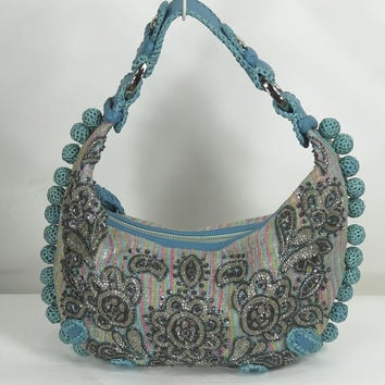 ISABELLA FIORE Turquoise Beaded SILVER BULLET Leather Hobo Bag Purse