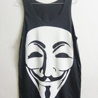 V for Vendetta Shirt Unisex Tank top size M Black V for Vendetta tank top men women singlet sleeveless Long shirt