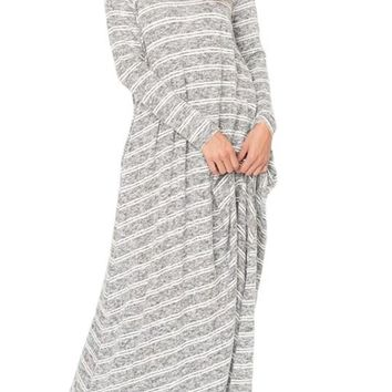 Black White Striped Long Sleeve Pocket Maxi Dress