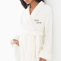 Plush Womens Robe with Glitter Monogram