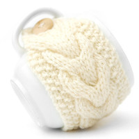 White Cream Aran Hand Knit Mug Warmer or Cup Cosy Cozy