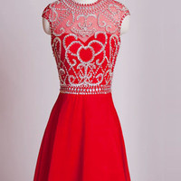 Homecoming Dresses Red Chiffon Cap Sleeves Short Prom Dress