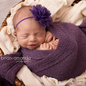 Newborn Headband, Purple Baby Headband, Flower Girl Headband, Newborn Photo Prop, Purple Lace Headband, Baby Girl Prop