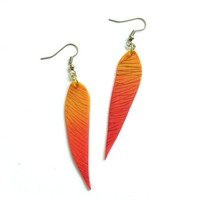 Orange yellow feather earrings color progression ombre long polymer clay dangle earrings one-of-a-kind