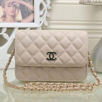 CHANEL Women Shopping Leather Metal Chain Crossbody Shoulder Bag I