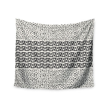"Pom Graphic Design ""Wind Day"" White Black Wall Tapestry"