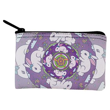 Mandala Trippy Stained Glass Easter Bunny Coin Purse