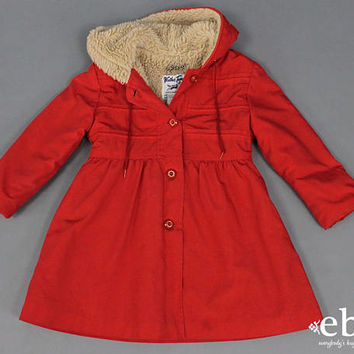 Girl's Vintage Coat Shearling Coat Red Coat 70s Coat 1970s Coat Kid's Vintage Children's Vintage 70s Vintage Coat Toddler Vintage 5T 5