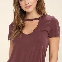 Once in a Wild Washed Burgundy Top