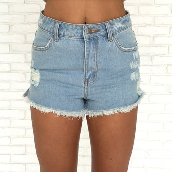 Denim Daze High Waist Shorts in Light Blue
