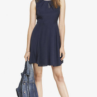 MESH YOKE PLEATED KEYHOLE FIT AND FLARE DRESS from EXPRESS
