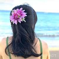 Chrysanthemum Purple Hawaiian Flower Hair Clip