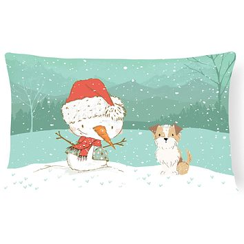 Brown and White Terrier Snowman Christmas Canvas Fabric Decorative Pillow CK2096PW1216