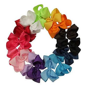 Premium 5.5in Hair Bows for Teens Women Girls Baby Gifts Accessories 15pcs