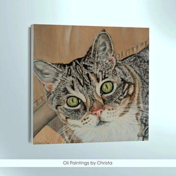 Custom cat portrait Cat painting  Custom Pet portrait Pet painting Memorial art Pet gift Pet art  Painting Cat oil painting Handmade