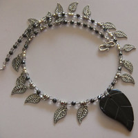 Carved Heart Shaped Stone, Hematite, Smokey Quarts and Silver Leaves Necklace
