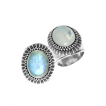 AR-1077-RM-7 Sterling Silver Ring With Rainbow Moonstone
