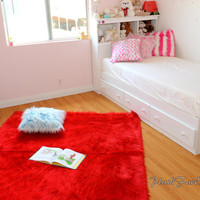Red Shaggy Faux Fur Throw Rug Carpet Plush Sheepskin Nursery Rug Bedroom Flokati Rugs