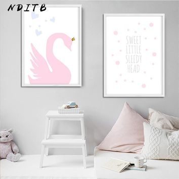 Swan Nursery Quote Canvas Poster Print Pink Cartoon Minimalist Wall Art Painting Nordic Kids Decoration Pictures Baby Room Decor
