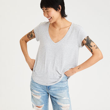 AE Soft & Sexy Striped Tee, Gray