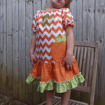 Fall-Halloween-Thanksgiving Pumpkin Applique Girls Dress made with Orange Chevron and Polka Dot Fabric.