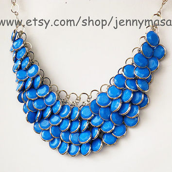 Blue Jewelry, Bib Necklace -Bubble Statement Necklace,holiday party,bridesmaid gift,bubble necklace,beaded jewelry ,Turquoise Jewelry