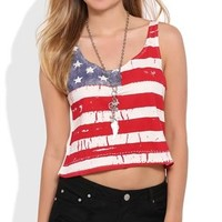 Crop Tank Top with American Flag Front