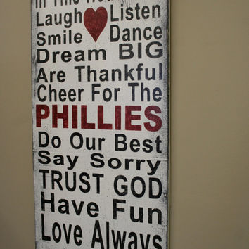 Family Rules Wood Sign Personalized Family Rules Phillies Team Sign Mancave Fathers Day Gift Distressed Wood Sign Rustic Wood Sign