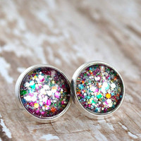 firecracker silver plated post earrings