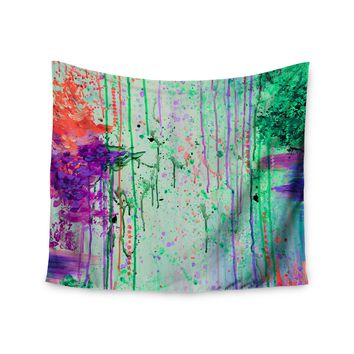 "Ebi Emporium ""The 90s Throwback"" Green Purple Painting Wall Tapestry"
