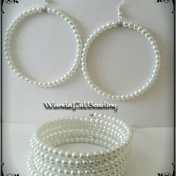 White Pearl Memory Wire Bracelet & Earrings Set - $14.99 - Handmade Jewelry, Crafts and Unique Gifts by WandaFulBeading