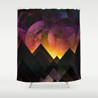 Whimsical mountain nights Shower Curtain by HappyMelvin