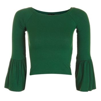 PETITE Trumpet Sleeve Bardot Top - Tops - Clothing
