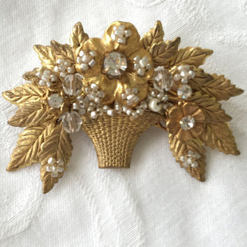 Vintage Miriam Haskell Brooch Basket of Flowers Pin Seed Pearls Crystals Designer Signed