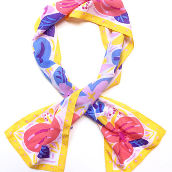 KEN DONE!!! Vintage 1980s 'Ken Done' tropical floral print long scarf with yellow border / Made in Japan