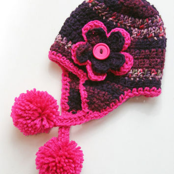 Baby Girl hat purple hot pink earflap with flower accent. 0 - 3 months photo prop