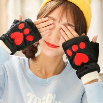 Furry Gloves Cashmere Feel - Plush Cat Paw Gloves - Thermal Fingerless Furry Gloves
