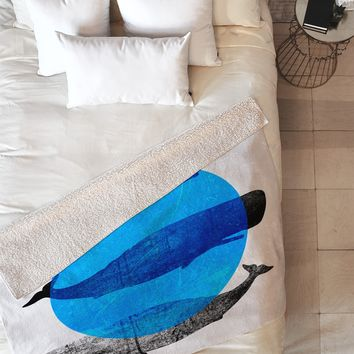Elisabeth Fredriksson Whales Fleece Throw Blanket