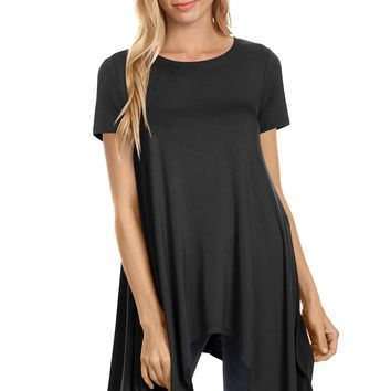 Short Sleeve Handkerchief Hem Tunic Top Loose Fit Tunics for Women - USA