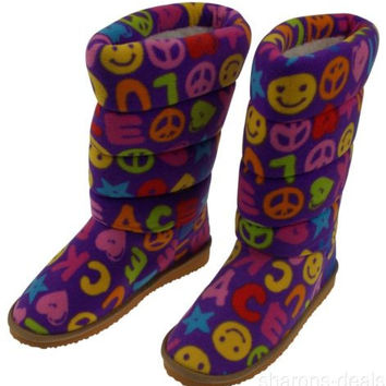 Melissa Doug Boot Slippers Ricky Girls Large 4-6.5 Peace Hearts Smiley Face NEW