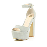 River Island Womens Grey peep toe platform sandals